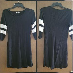 Black with Stripped Shoulder Mini Dress